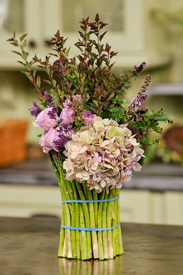 Learn to decorate your vase- with Asparagus- to create this one of a kind- vegetable covered vase- for your fresh flowers!
