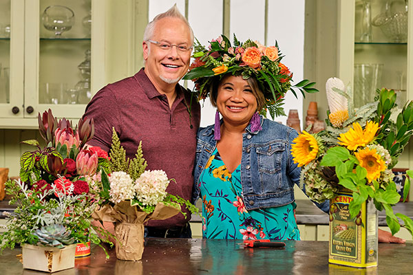 My Friend Jennifer Pascua stops by and we re-use and re-purpose Food Containers for flower arranging- and it's a whole lot of fun!