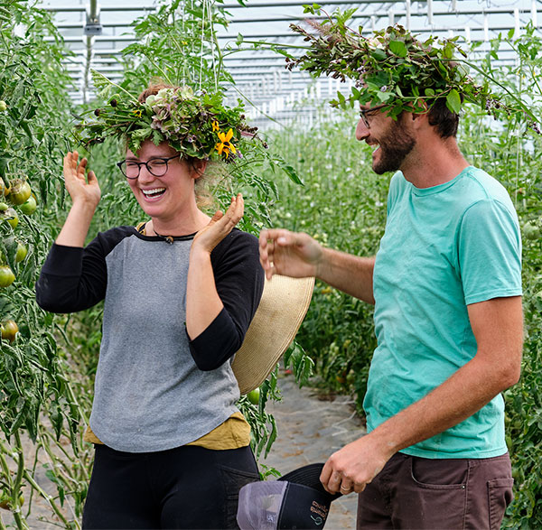 We had one of the best reactions about the Flower Crowns- from our Friends at Full Hollow Farm- Jamie and Bradley!