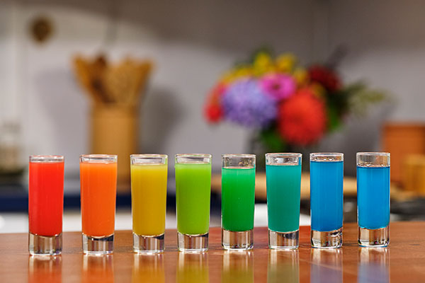 Impressive and Fun- the fun is creating your own rainbow- with this Recipe for Rainbow Shots
