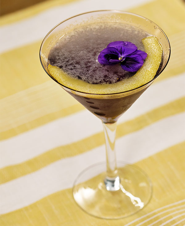 The Classic Aviation Cocktail is created with Creme de Violette and a Violet for Garnish!