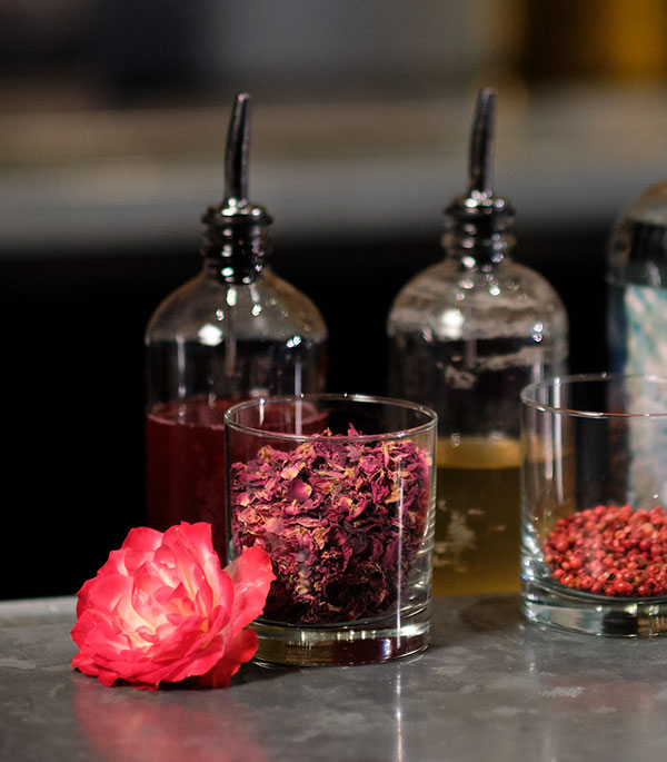 """Rose Water and Pink Peppercorn Syrup are the secret ingredients to this """"PILLOW TALK"""" Cocktail"""