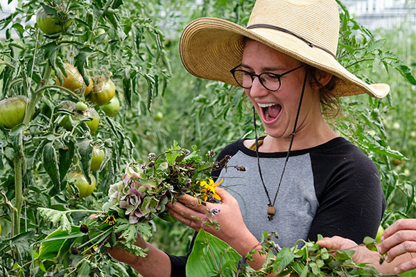 Jamie is excited about her Flower Crown- during my visit to Full Hollow Farm!