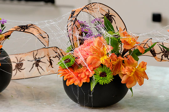 "Halloween Flowers with ""Spider Webs"""