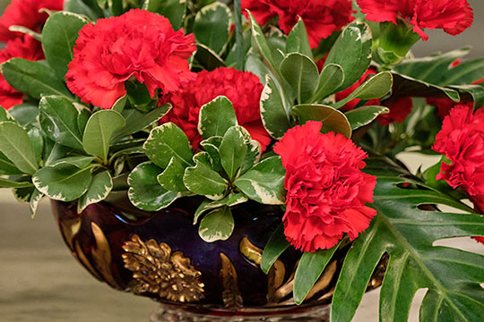 "Red Carnations in ""Goofus Glass"""