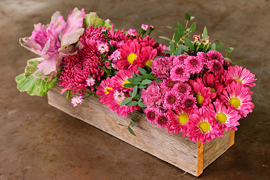 "Rows of Flowers in a Box with J's Bouquet - ""Nightfall"""
