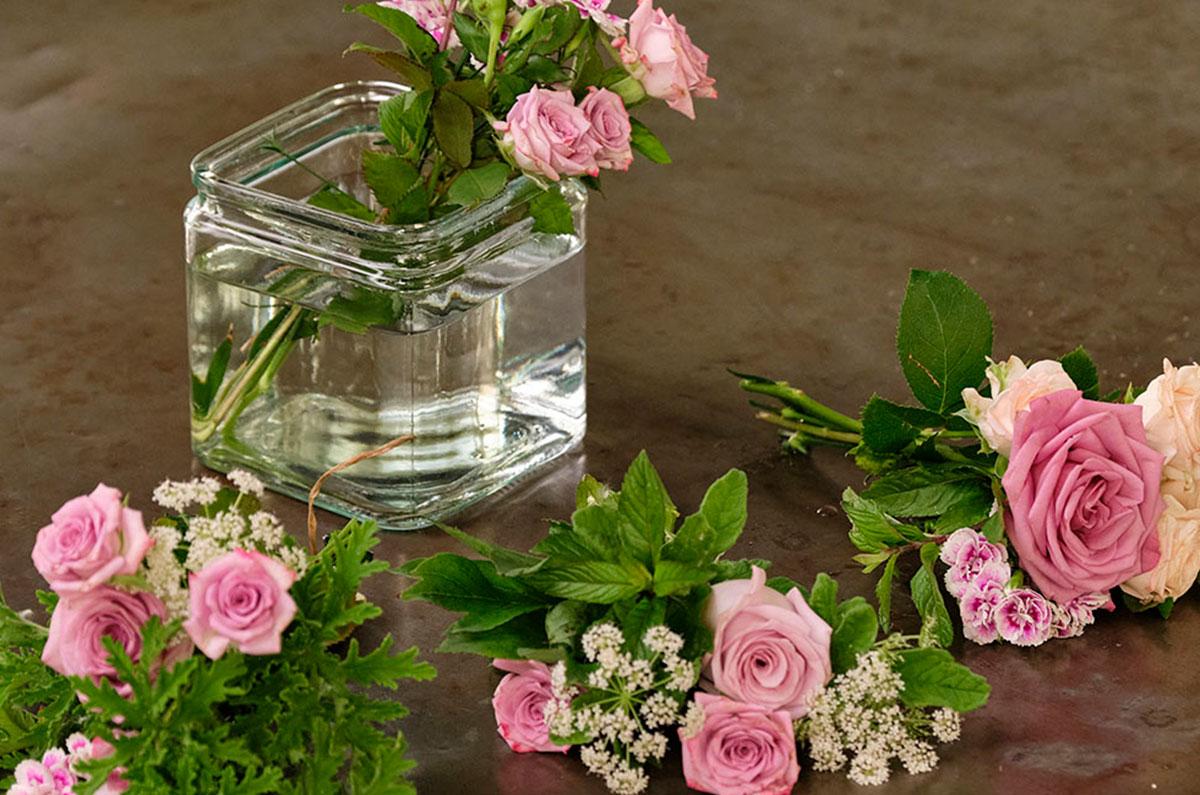 Bundles of Flowers in a Cube Vase