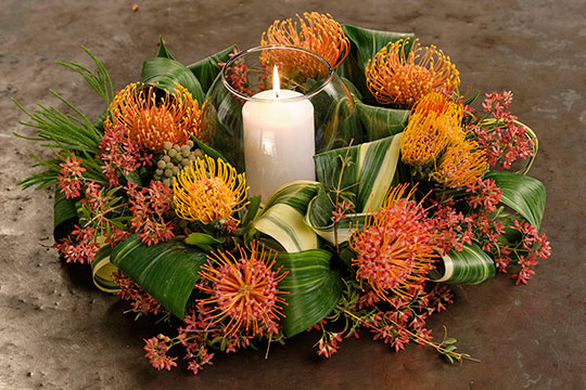 Looped Leaf Protea Centerpiece