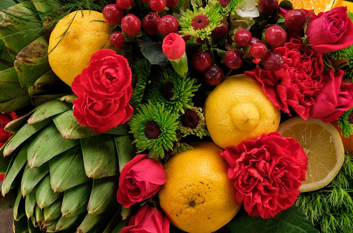 """Fruit & Flowers featuring """"Happy Hour"""" J's Bouquet"""