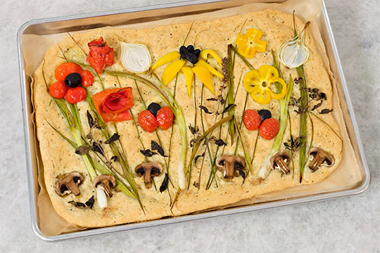 Create your own Field of Flowers on your Flatbread- It's easy and Impressive!