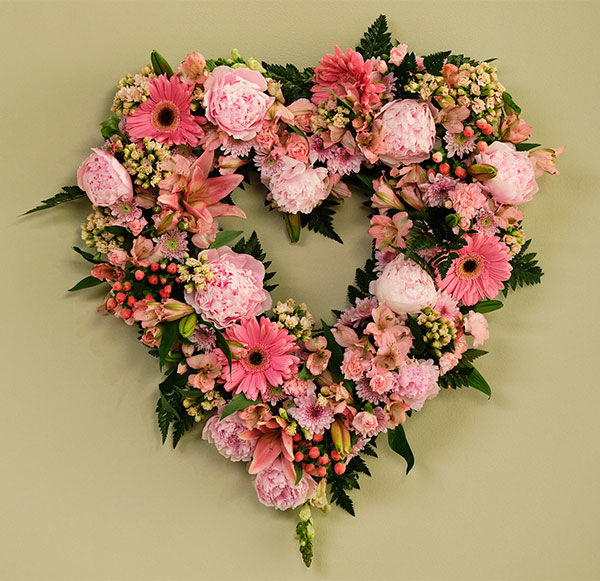 I create this open heart- using a Flower Foam Heart Wreath- and filling it with Peonies from the Garden and a few bunches of Flowers from the Grocery Store!