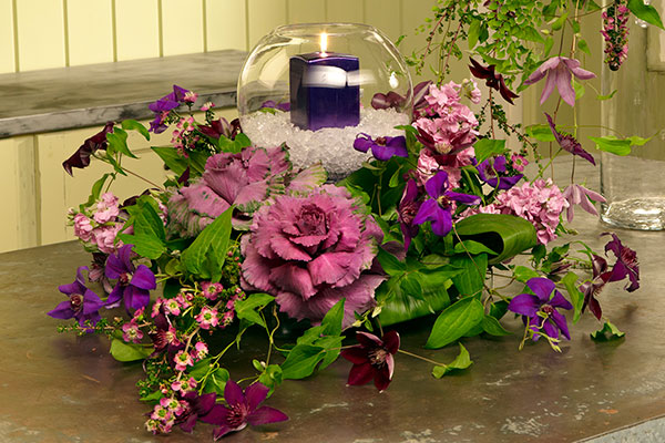 I share 2 of my favorite Purple Power arrangements- one is simplistic and the other a bit more complex- complete with candle light!