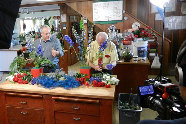I took the crew to my Home Town- and the Flower Shop- my Parents still owned- Greens Greenhouses- so Dad and I could arrange together again!