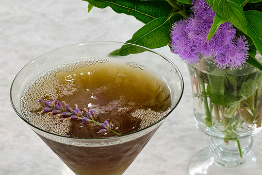 I love to infuse vodka with flavors - especially flower flavors. This cocktail includes a Lavender vodka that I had infused with Lavender from the garden…the Lavender Martini- is tasty and beautiful too!  You can Substitute lavender vodka for Plain Vodka- if you wish- to tone down the Lavender Flavor.  It's also Possible to substitute a Lavender Flower Elixir to make non- alcohol version instead too... you can always have Fun with flowers- and be Creative!