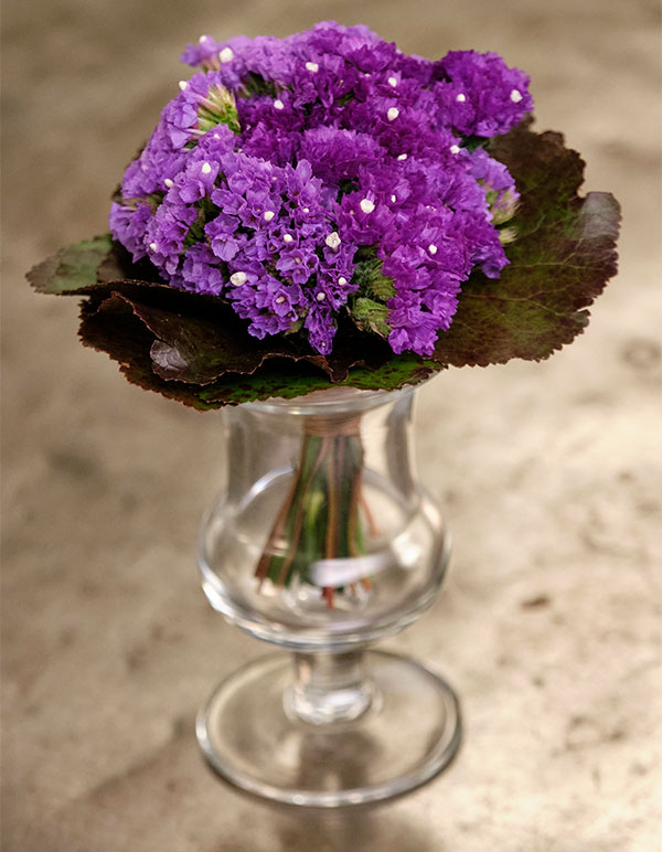 """I create a """"faux Violet"""" bouquet with Statice - to replicate the Violet bouquets my Grandpa used to make!"""