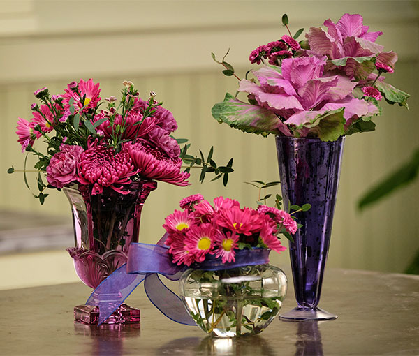 I used a single bunch of flowers- and divided it up into 3 Different Vases- showing you how easy it is to spread flowers all around the house!