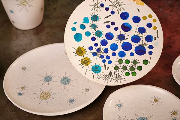 Charlotte McLravy shared the concept art her Aunt Mary Brown created that led to the Franciscan Starburst Dinnerware Pattern