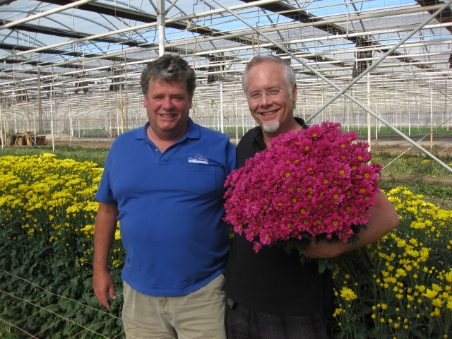 My Flower Friend- René VanWingerden- with armloads of 'mums' at Ocean Breeze in Santa Barbara CA
