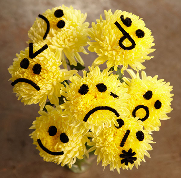 Let's Recreate EMOJIs- (well - actually Emoticons- with pipe cleaners on Football Mums- it's a fun Flower Craft- and fun for kids too!