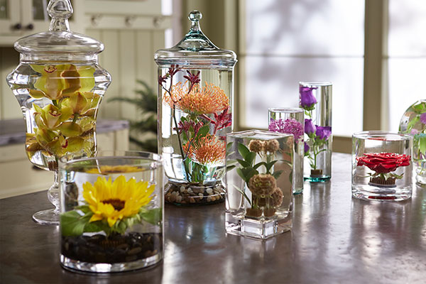 It's fun to create submerged flowers- and it's an easy and magical way to display flowers!
