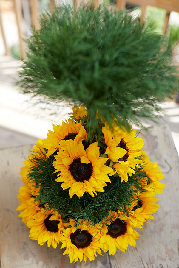 Created with SunFlowers- and Tree Fern- From our Friends at FernTrust- these topiary arrangements are easy to make and Impressive!