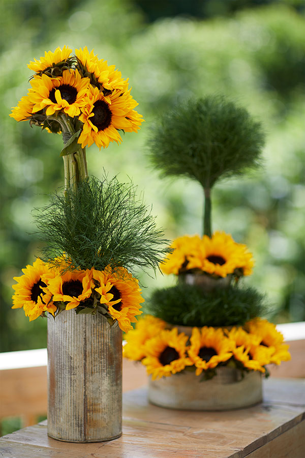 It's fun to arrange flowers outdoors- so join me on the deck- as I create these fun topiary arrangements!