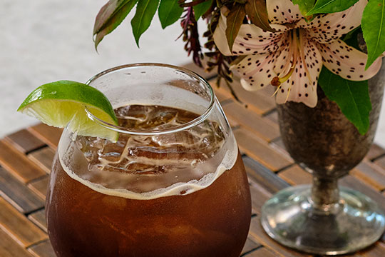 """A Fun """"Flower Cocktail"""" featuring Blandford Nature Center Maple Syrup and Dark Ale"""