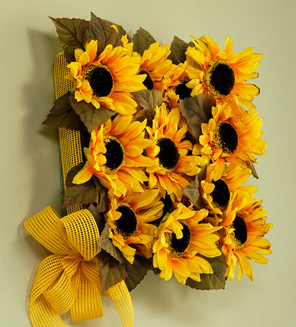 Let's make a #FlowerCraft- this permanent Sunflower Square- is a wonderful interior accent- and brings more Flowers into your Life in Bloom!