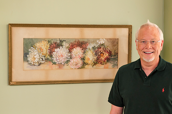J and the painting of Chrysanthemums- his Grandfather had commissioned in the early 1900s