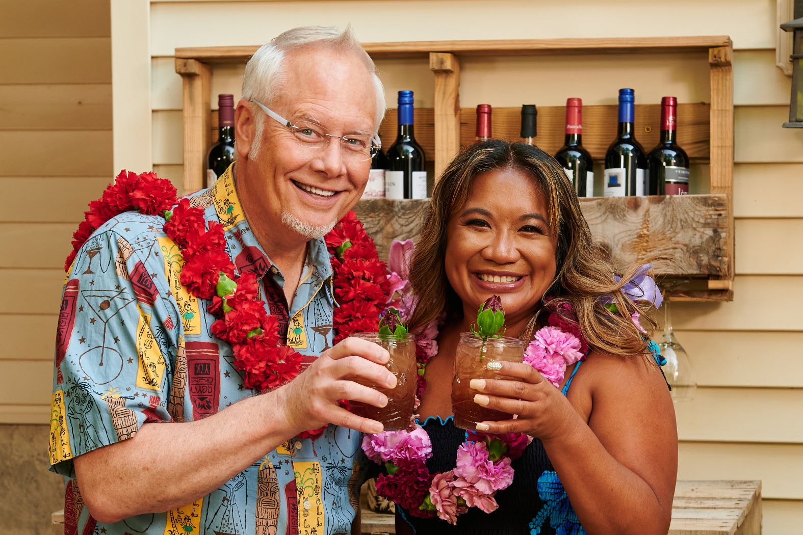"""J hosts guest Jennifer Pascua- for Lei making- and Flower Inspired Tropical Cocktails- in Season 4 of """"J Schwanke's Life in Bloom"""" - and even a Hula Lesson!"""